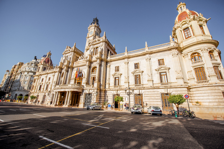 City hall building during the morning light in Valencia city in Spain