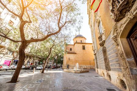 Street view with saint Juan church in Valencia city, Spain Stock Photo