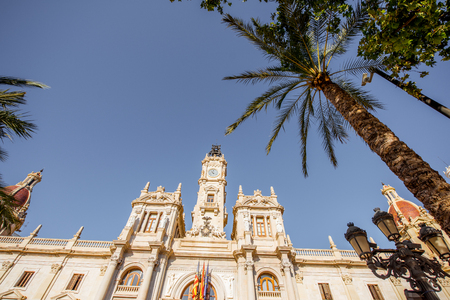 CIty hall building during the morning light in Valencia city in Spain Stock Photo