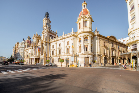 CIty hall building during the morning light in Valencia city in Spain Stok Fotoğraf