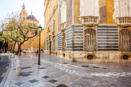 Street view with saint Juan church in Valencia city, Spain.