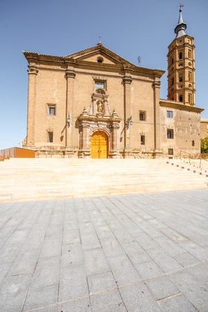 View on the saint Juan church on the Pilar square in the centre of Zaragoza city during the sunny day in Spain