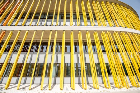 fasade: Colorful fasade of the modern building for background Stock Photo