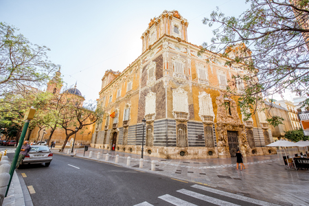 VALENCIA, SPAIN - August 18, 2017: Street view with National museum of Ceramics and Decorative Arts in Valencia city, Spain Editorial