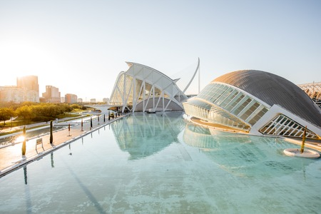 VALENCIA, SPAIN - August 19, 2017: The City of Arts and Sciences, cultural and architectural complex designed by Santiago Calatrava and Felix Candela in Valencia 報道画像