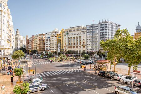 VALENCIA, SPAIN - August 19, 2017: View on the Ayuntamiento square with beautiful buildings during the morning light in Valencia, Spain