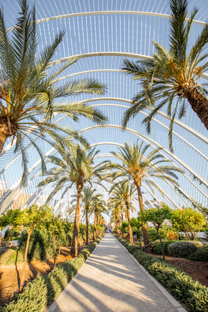 VALENCIA, SPAIN - August 18, 2017: Park in the City of Arts and Sciences, cultural and architectural complex designed by Santiago Calatrava and Felix Candela in Valencia
