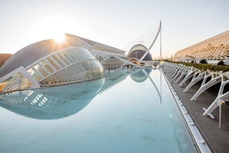 VALENCIA, SPANJE - 19 augustus 2017: De stad van kunst en wetenschap, cultureel en architectonisch complex ontworpen door Santiago Calatrava en Felix Candela in Valencia