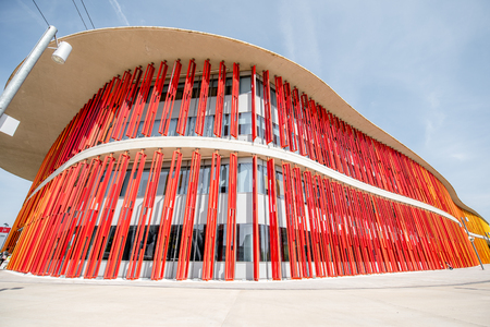 fasade: ZARAGOZA, SPAIN - August 21, 2017: View on the colorful fasade of pavilion of international exposition held in 2008 in Zaragoza, Spain Editorial