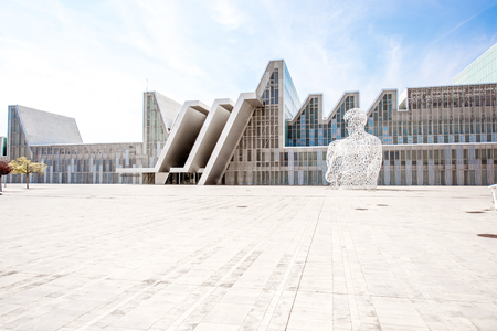 ZARAGOZA, SPAIN - August 21, 2017: View on the sculpture Alma del Ebro and pavilion building of international exposition held in 2008 in Zaragoza, Spain