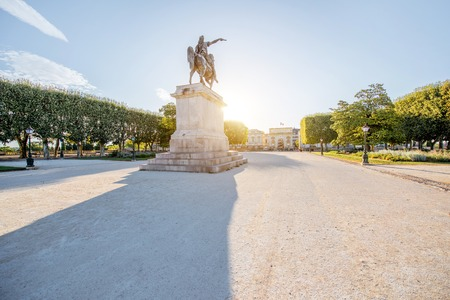 View on the beautiful Peyrou promenade with Louis statue in Montpellier city during the morning light in southern France Zdjęcie Seryjne