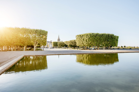 View on the Peyrou gardens with fountain during the morning light in Montpellier city in southern France