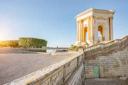View on the water tower in Peyrou garden during the morning light in Montpellier city in southern France