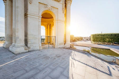 View from below on the water tower in Peyrou garden during the morning light in Montpellier city in southern France Stock Photo