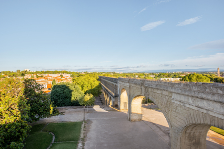 View on the saint Clement aqueduct in Peyrou garden during the morning light in Montpellier city in southern France Stock Photo