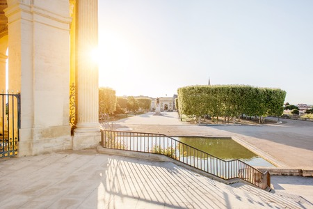 View on the Peyrou gardens with water tower during the morning light in Montpellier city in southern France