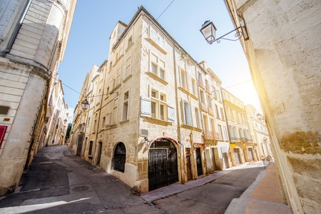 Street view at the old town of Montpellier city in Occitanie region of France 版權商用圖片