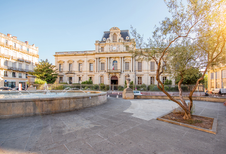 City view on Martyrs square with beautiful building during the morning light in Montpellier city in southern France Stock Photo