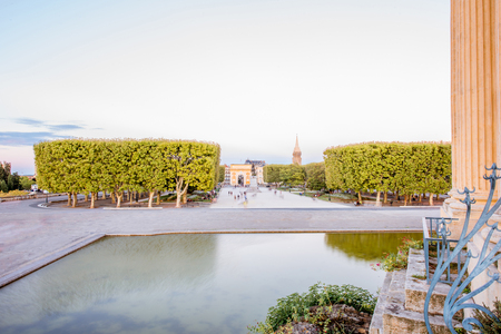 View on the Peyrou gardens with fountain during the evening light in Montpellier city in southern France