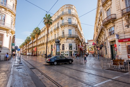 MONTPELLIER, FRANCE - July 28, 2017: View on the Foch boulevard with beautiful old buildings during the morning light in Montpellier city on the south of France Editorial