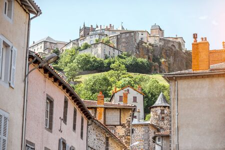 View on the old buildings and hill with fortress in saint Flour village in Auvergne region, France 版權商用圖片