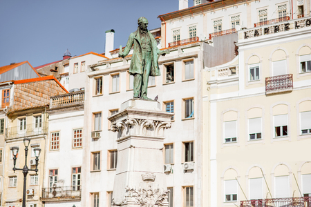 Close-up view on the Joaquim Augusto statue on the central sqaure in Coimbra city in Portugal