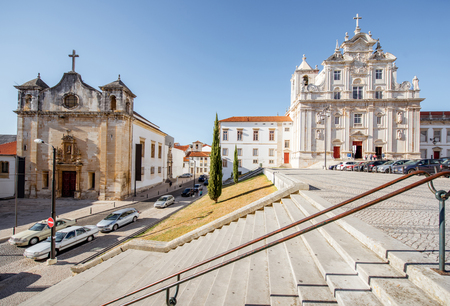 View on the new cathedral facade and saint Jean church in Coimbra city in the central Portugal