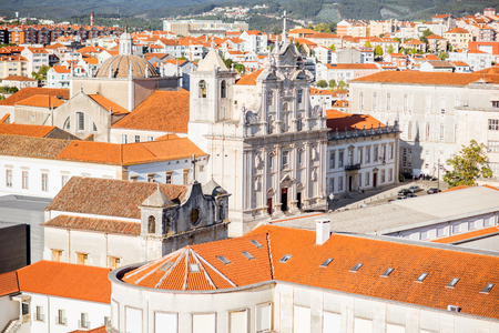 Top view on the old town with new cathedral in Coimbra city in the central of Portugal Stock Photo - 89630840