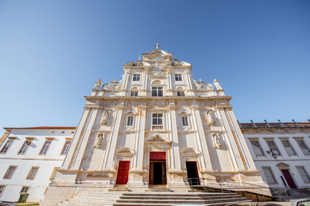 View on the new cathedral facade in Coimbra city in the central Portugal