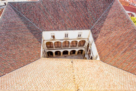 Top geometrical view on the courtyard of the old university of Coimbra city in the central Portugal