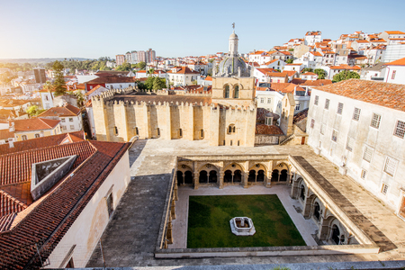 Top view on the old cathedral with beautiful courtyard in Coimbra city in the central Portugal Stock Photo - 89631034