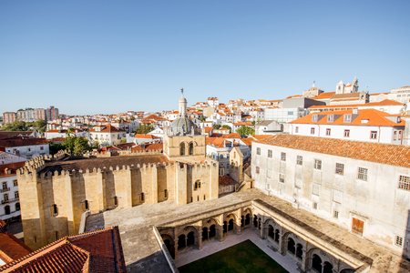 Top view on the old cathedral with beautiful courtyard in Coimbra city in the central Portugal Stock Photo