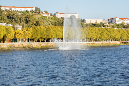 Beautiful fountain on Mondego river in Coimbra city in the central Portugal