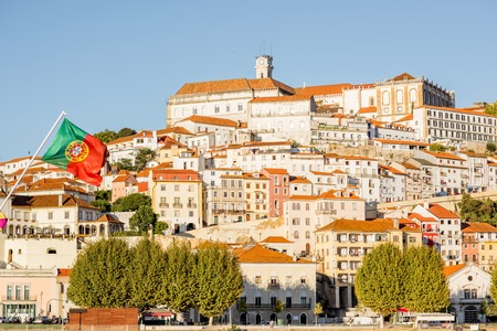 Cityscape view on the hill of the old town of Coimbra city in the central Portugal Stock Photo