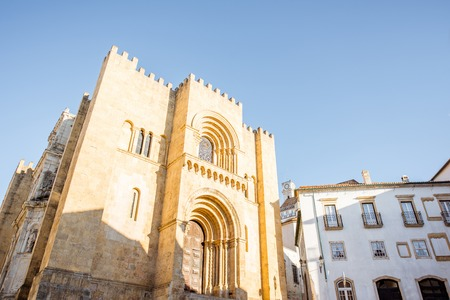 View on the facade of the old cathedral of Coimbra city in the central Portugal