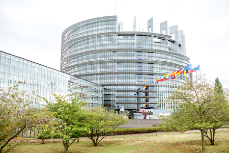 European Union Parliament building in Strasbourg city, France