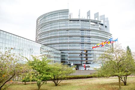 Het Parlementsgebouw van de Europese Unie in de stad van Straatsburg, Frankrijk Stockfoto - 89609334