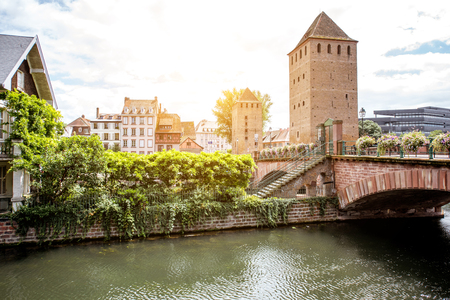 Landscape view on the old towers and bridge in Strasbourg old town, France Stok Fotoğraf