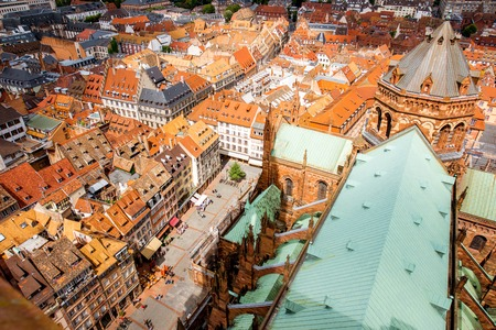Aerial cityscape view on the old town of Strasbourg city in France