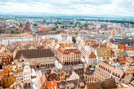 Aerial cityscape view on the old town with beautiful rooftops in Strasbourg city, France Standard-Bild