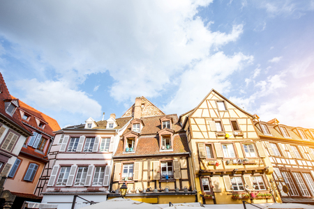 View on the beautiful old half-timbered houses during the sunny day in the famous tourist town Colmar in Alsace region, France Stok Fotoğraf