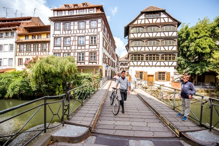 STRASBOURG, FRANCE - July 26, 2017: View on the beautiful half-timbered ancient houses in Strasbourg old town in Alsace region, France Editöryel