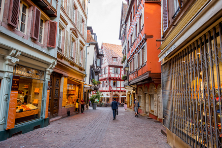 COLMAR, FRANCE - July 26, 2017: Street view on the beautiful old buildings in the famous tourist town Colmar in Alsace region, France