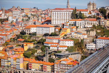 Landscape view on the old town of Porto during the sunny day in Portugal
