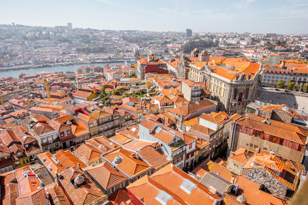 Aerial wideangle cityscape view on the old town of Porto city during the sunny day in Portugal Stock fotó