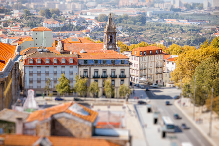 Aerial cityscape view on the old town of Porto city during the sunny day in Portugal. Tilt-shift image technic 版權商用圖片