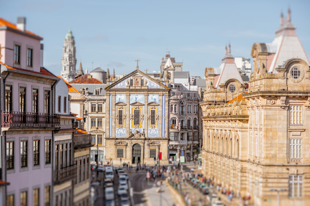 Cityscape view with Congregados church during the sunny day in Porto city, Portugal