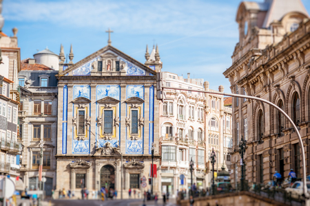 Street view on the facade with beautiful blue tiles of Congregados church in Porto city, Portugal Imagens
