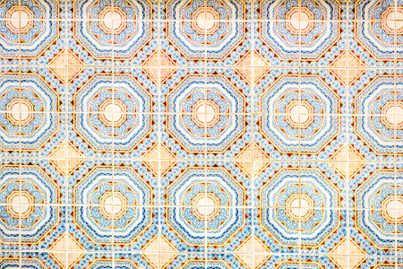 Beautiful portuguese facade tiles pattern called Azulejo Stock Photo