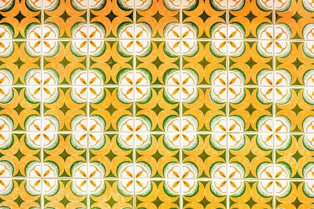 Beautiful portuguese facade tiles pattern called Azulejo Banco de Imagens
